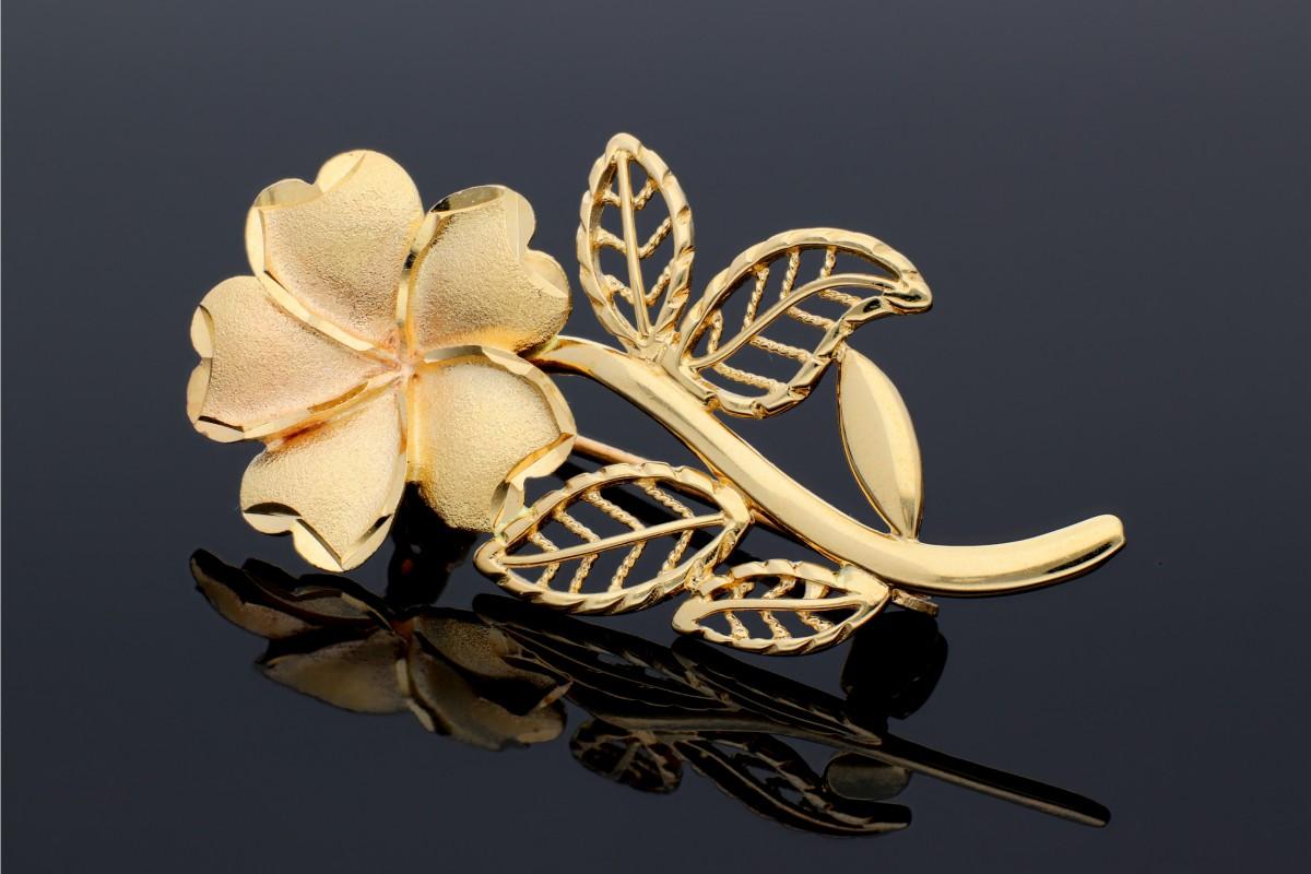 Brosa aur 14K model floare