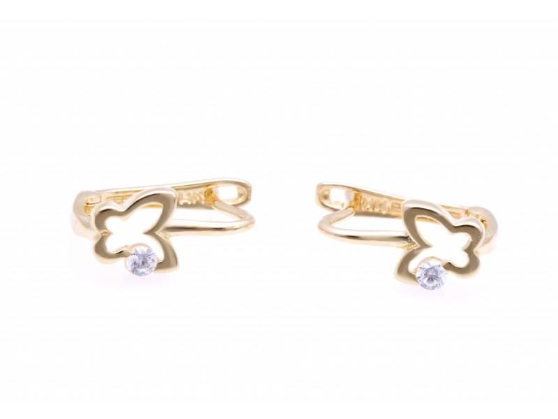 Bijuterii din aur - Cercei copii aur 14K galben fluturas