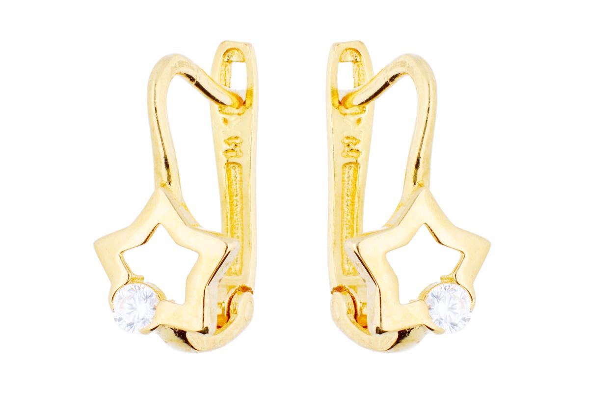 Bijuterii aur - Cercei copii din aur 14K galben steluta