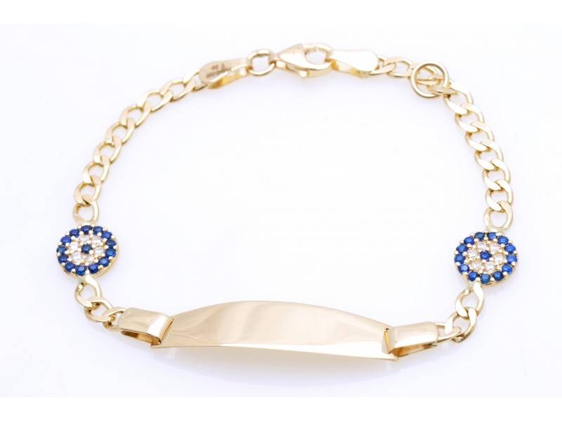 Cadou bijuterii aur 14k bratara copii gravabila