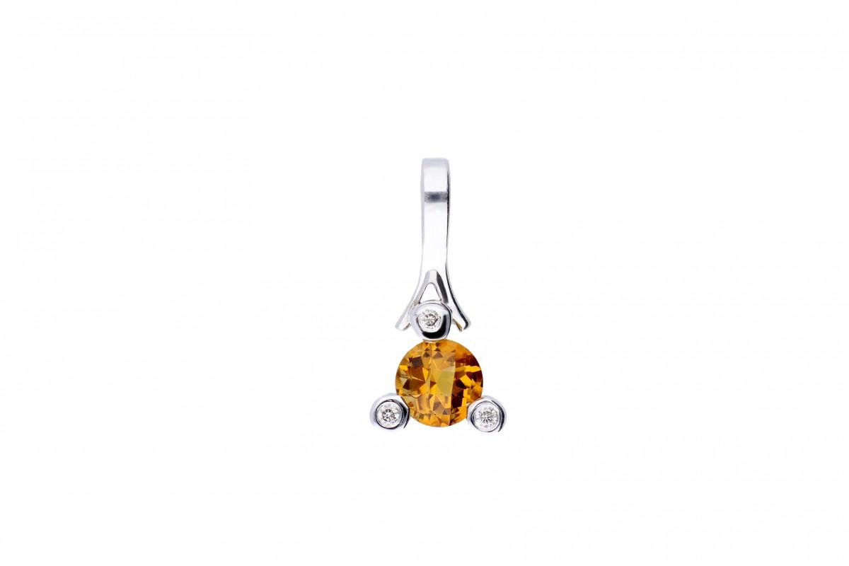 Bijuterii aur -Medalion aur 14K alb cu diamante si citrin