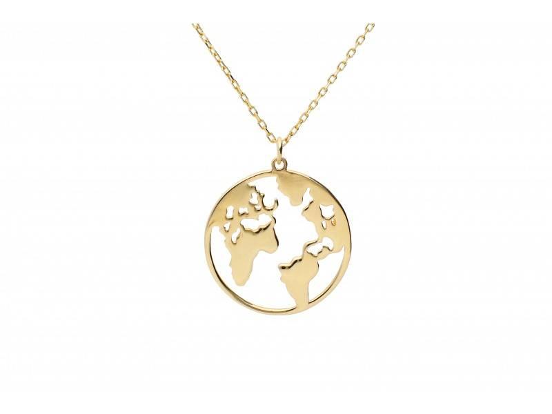 Cadouri aur lant cu medalion globul pamantesc
