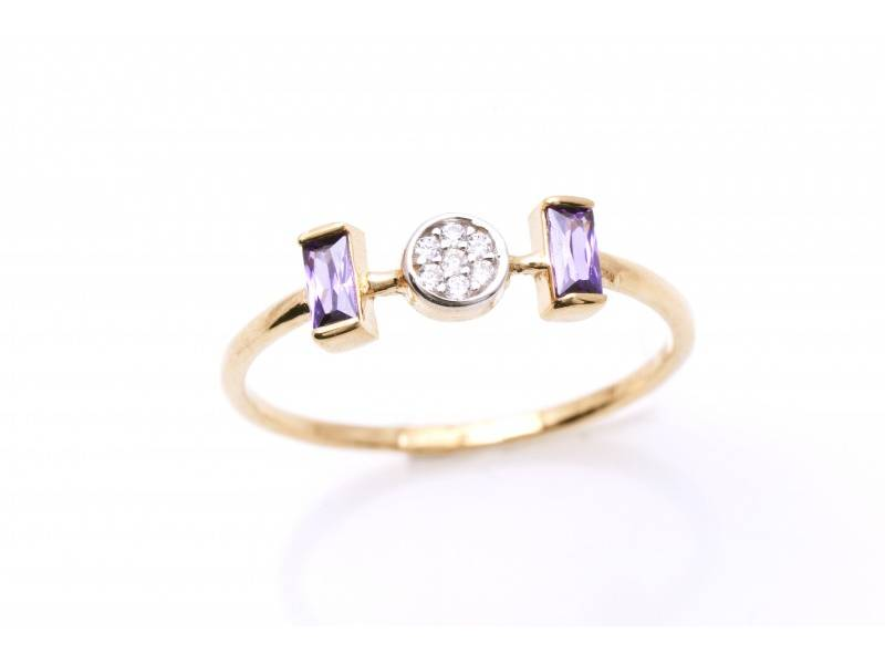 Cadouri bijuterii aur 14k inel cu pietre colorare
