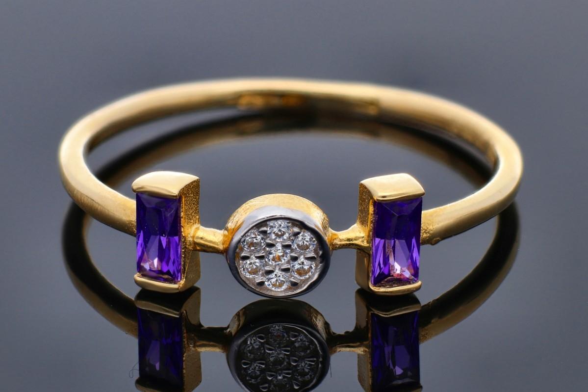 Bijuterii din aur - Inele aur 14K alb si galben cu pietre colorate