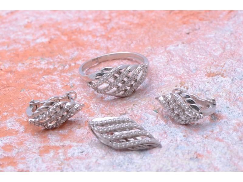 Cadouri bijuterii aur alb 14K cu zirconia