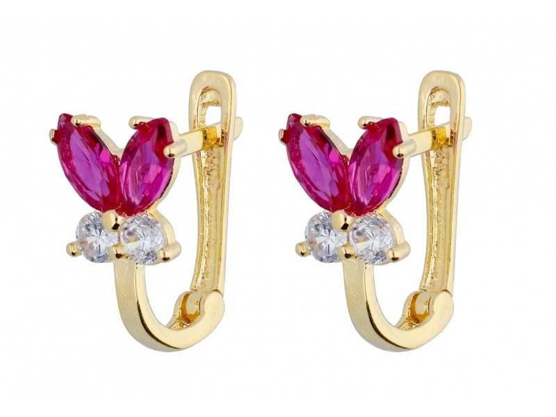 Cadouri bijuterii aur cercei copii fluturas zirconii colorate