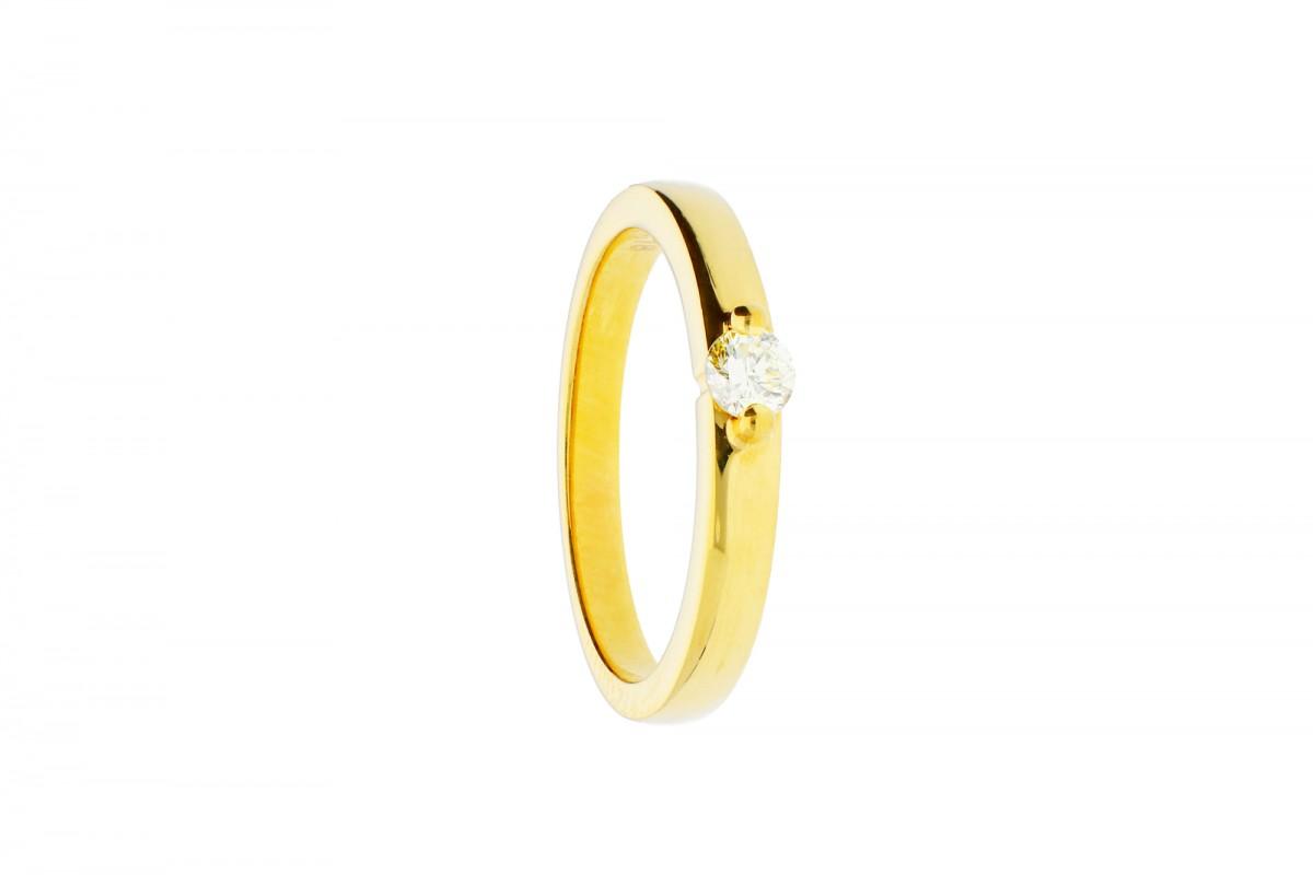 Inel de logodna cu diamante aur  galben 18k