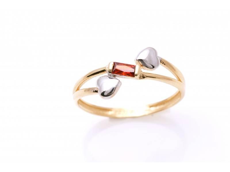 Cadouri bijuterii inel aur 14k cu inimioare