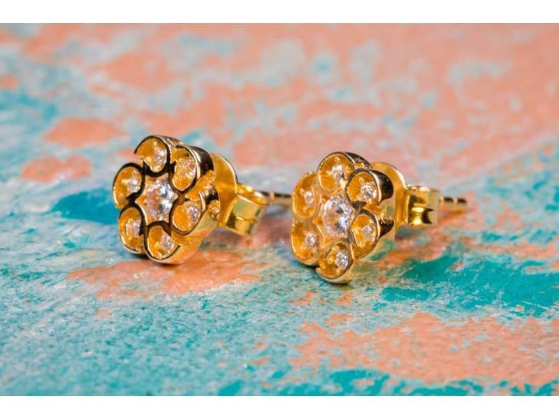 Cercei aur 14 k bijuterii dama cu zirconii