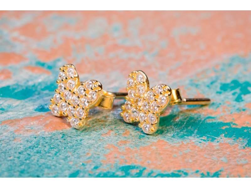 Cercei aur 14 k bijuterii dama fluturas zirconii