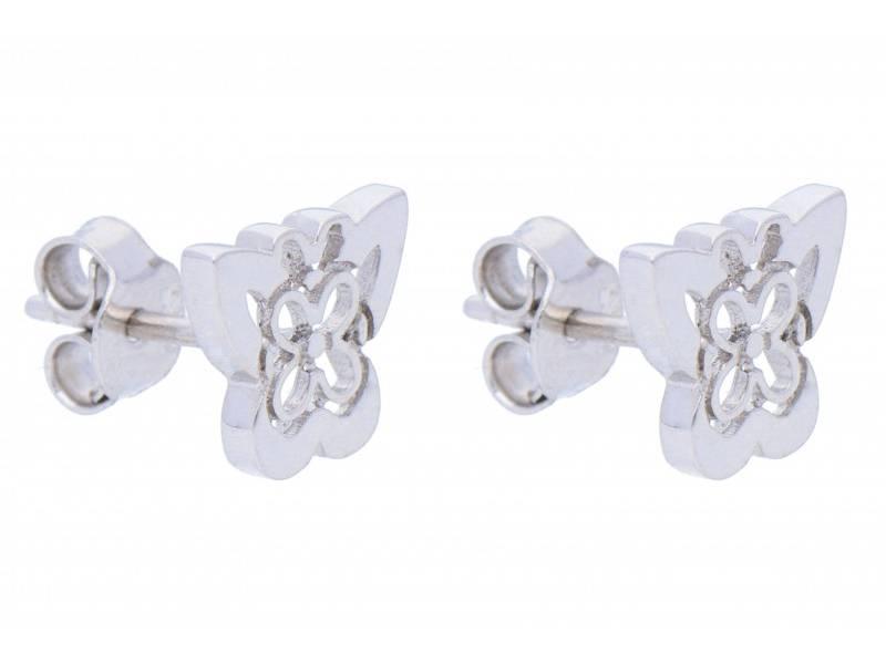 Cercei cu surub din aur 14K alb dama fluture