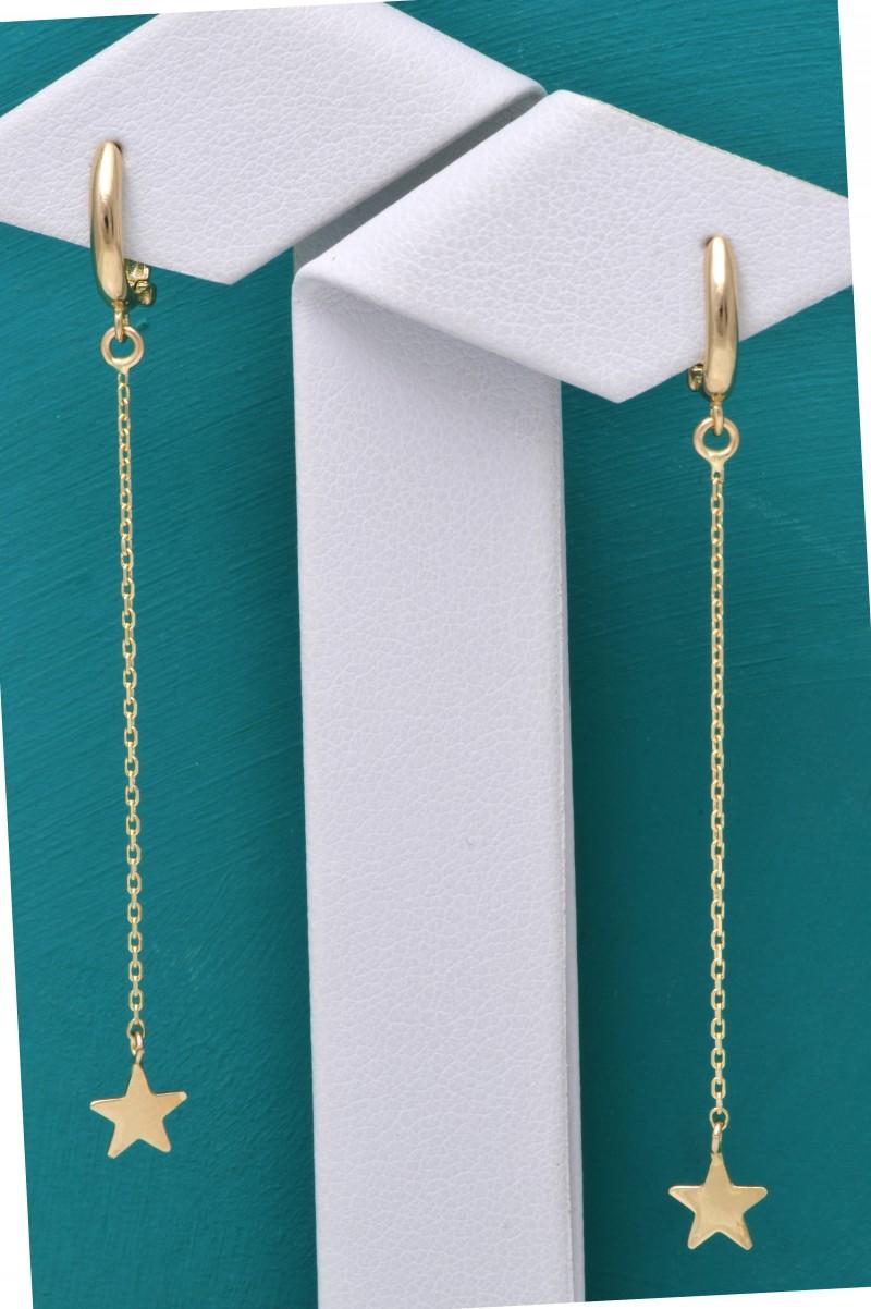 Cercei aur 14 k bijuterii dama steluta