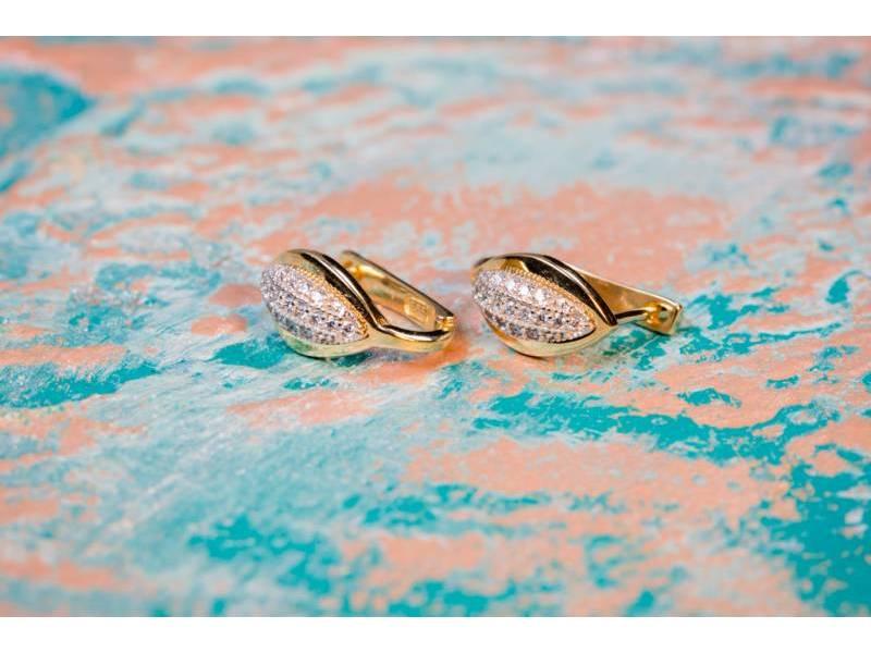 Cercei aur 14 k cu zirconii