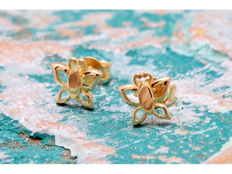 Bijuterii aur online - Cercei cu surub dama din aur 14K galben
