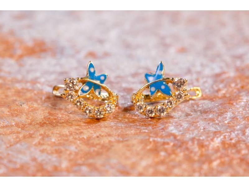 Cercei aur 14K bijuterii copii fluturasi albastri