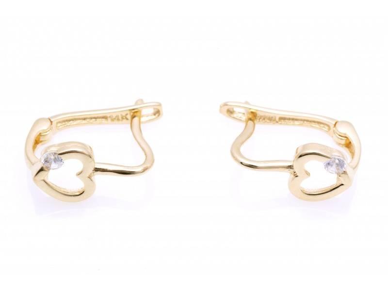 Bijuterii aur online - Cercei copii aur 14K galben inimioara