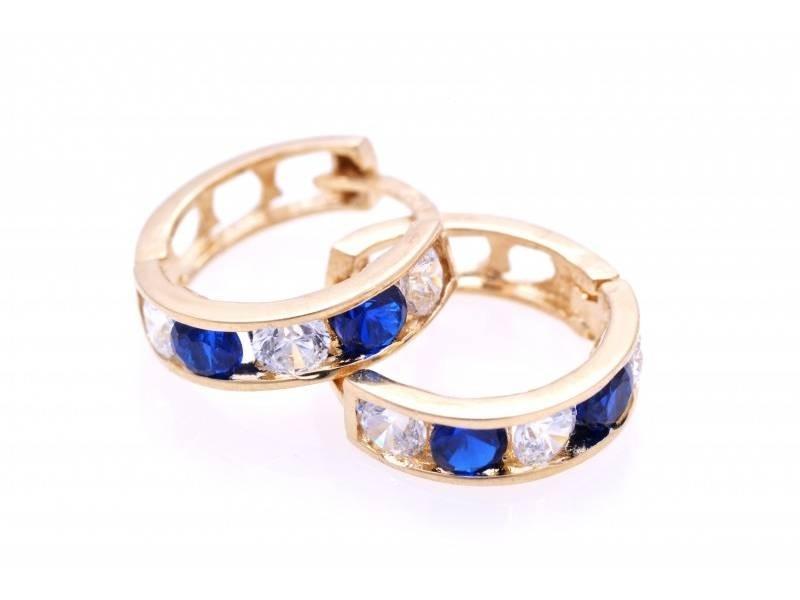 Cercei aur 14K bijuterii copii zirconii colorate