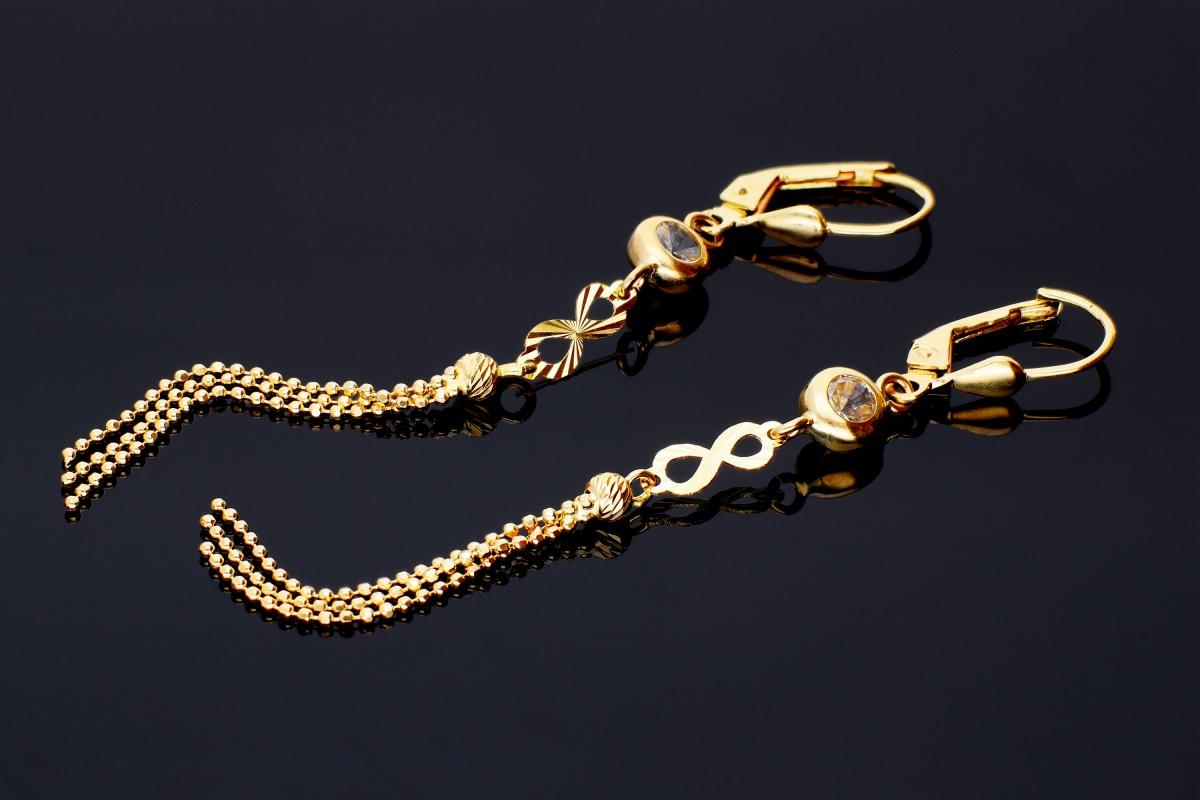 Bijuterii aur - Cercei cu lant din aur 14K galben bilute infinit