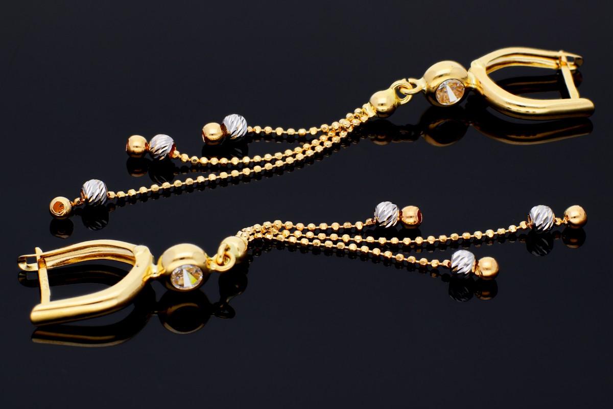 Bijuterii aur online - Cercei lungi aur 14K alb si galben