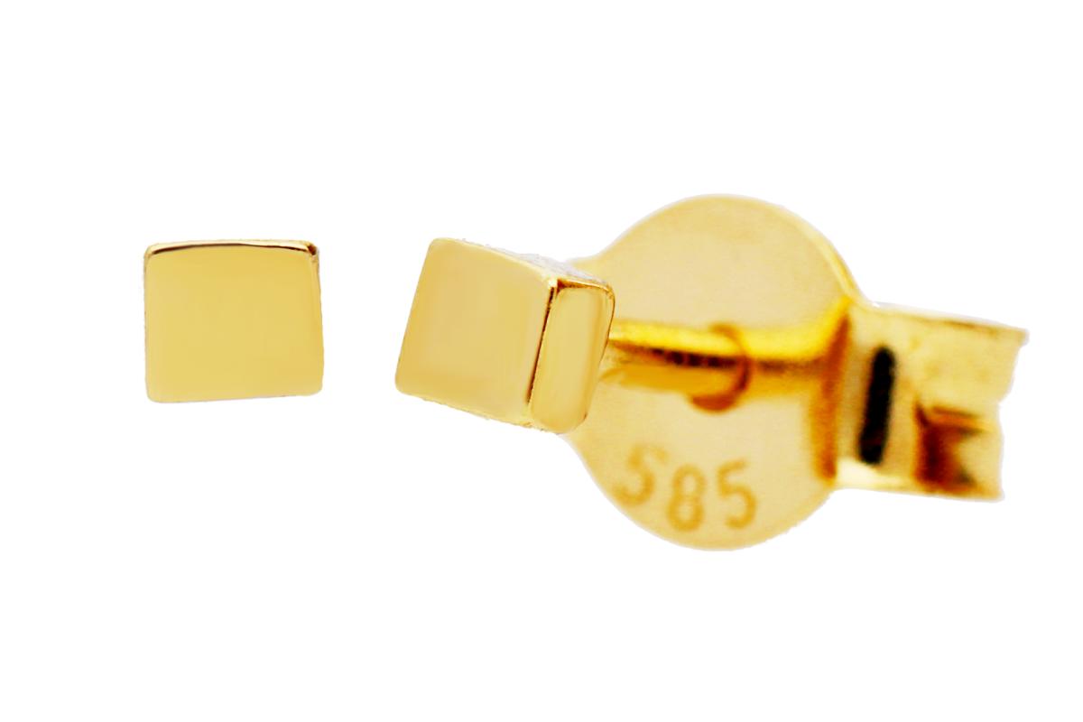 Bijuterii aur - Cercei cu surub dama din aur 14K galben