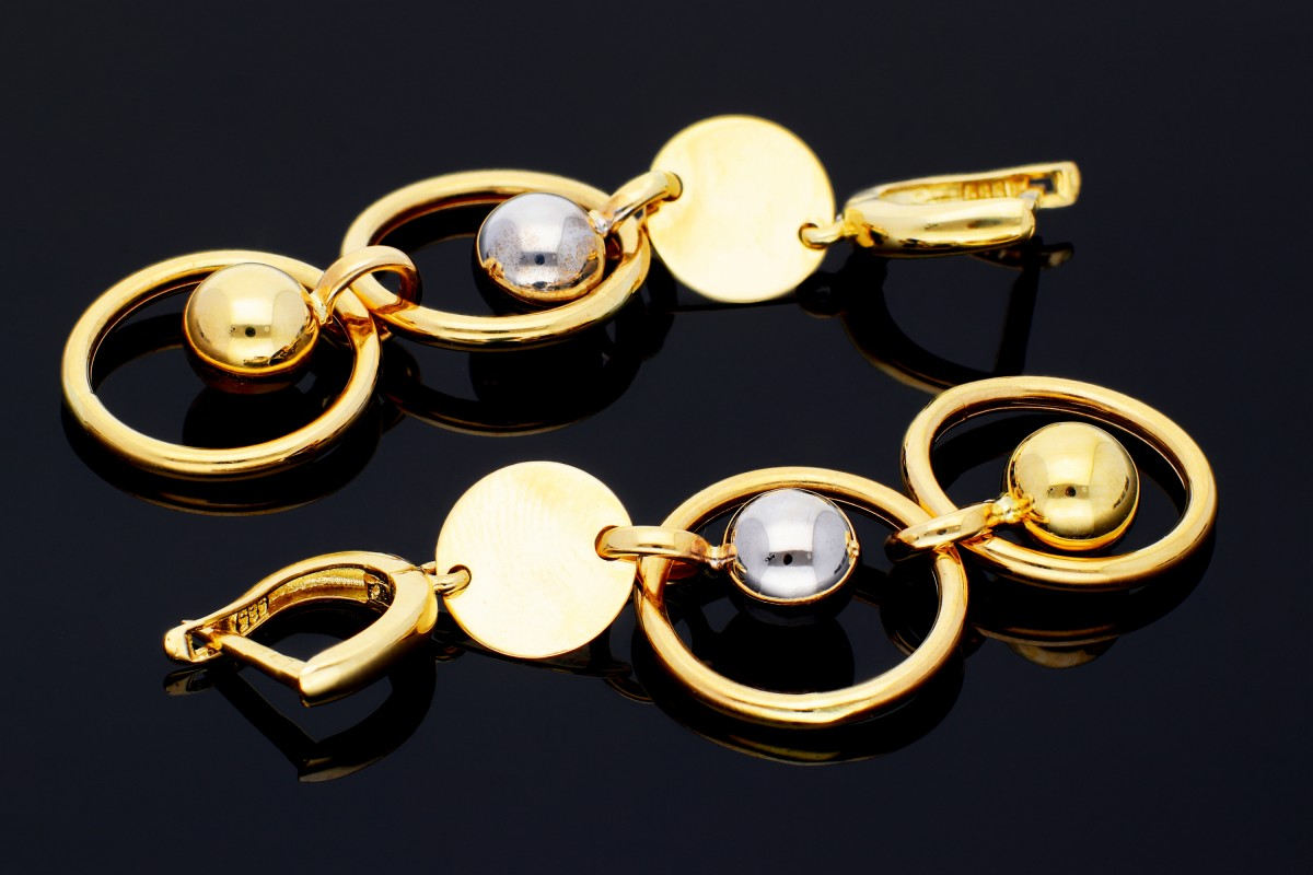 Bijuterii aur online - Cercei lungi din aur 14K alb si galben bilute