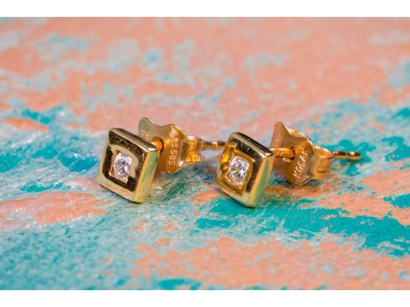 Cercei aur 14k bijuterii dama cu zirconia