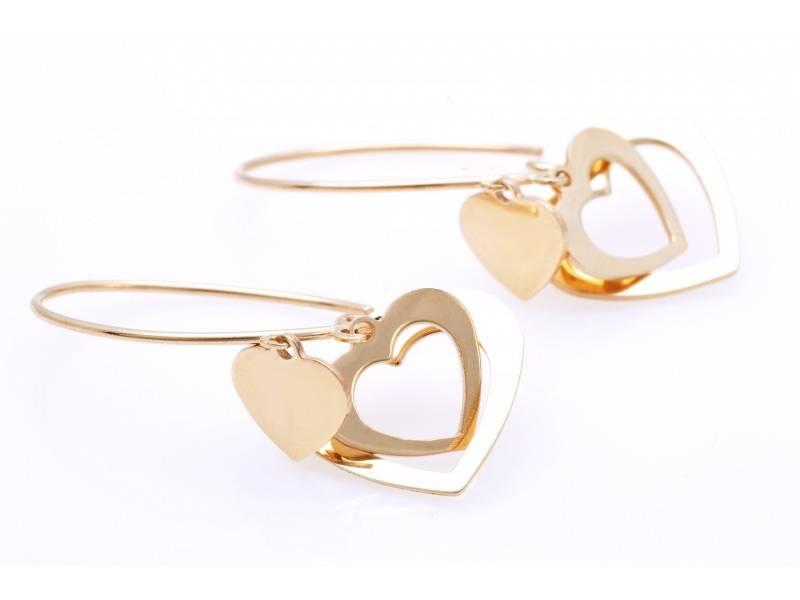 Cercei aur 14K bijuterii dama inimioare