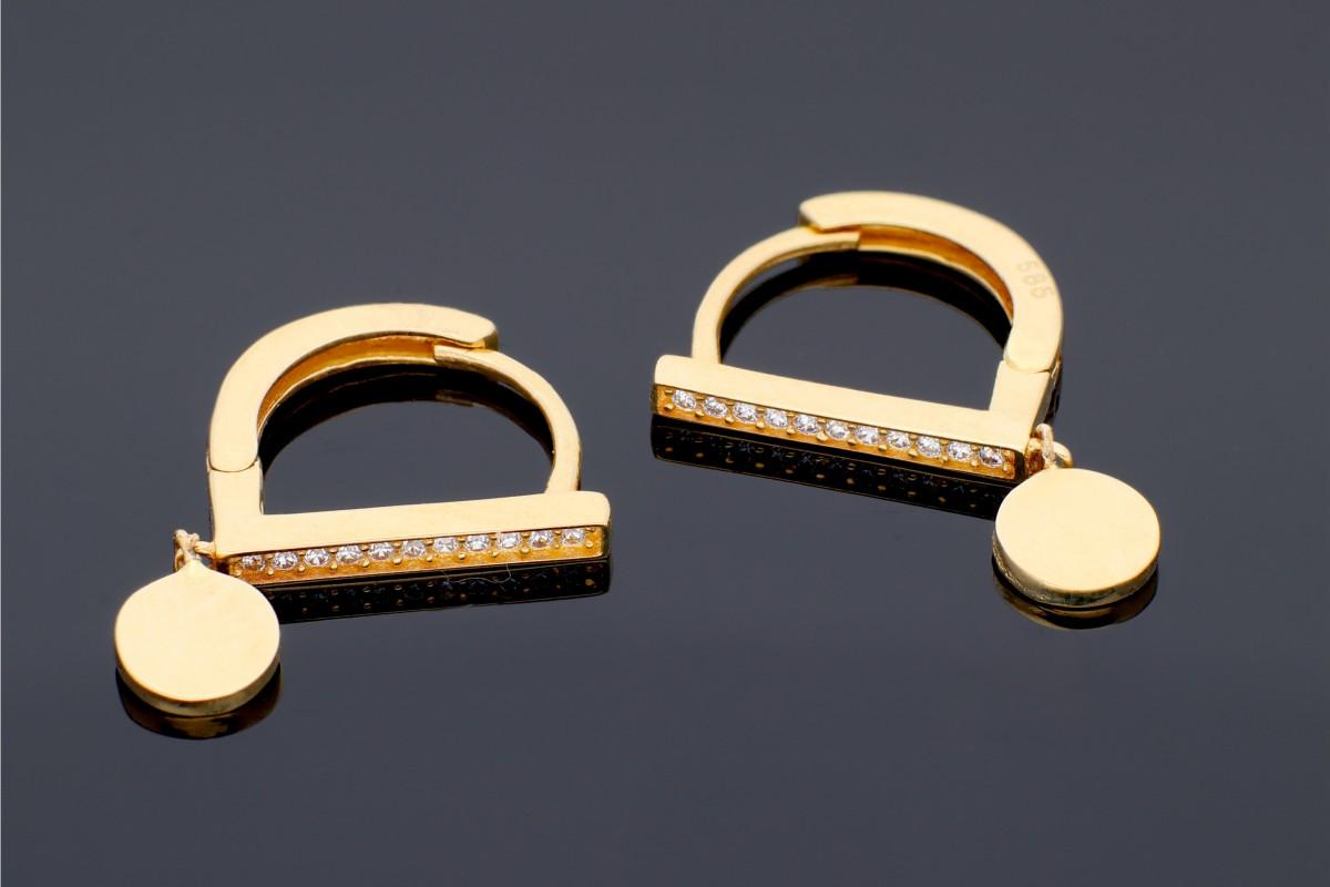 Cercei rotunzi aur 14K bijuterii dama pandantiv banut