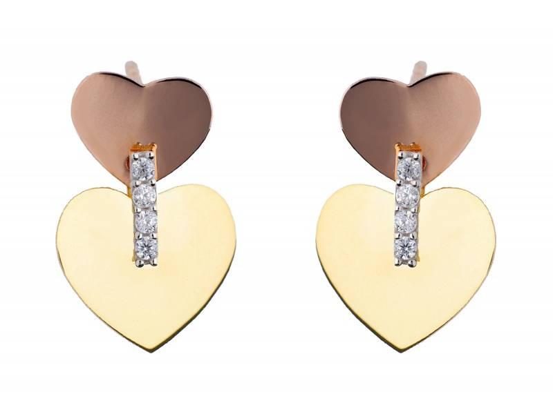 Cercei aur 14K bijuterii inimioare