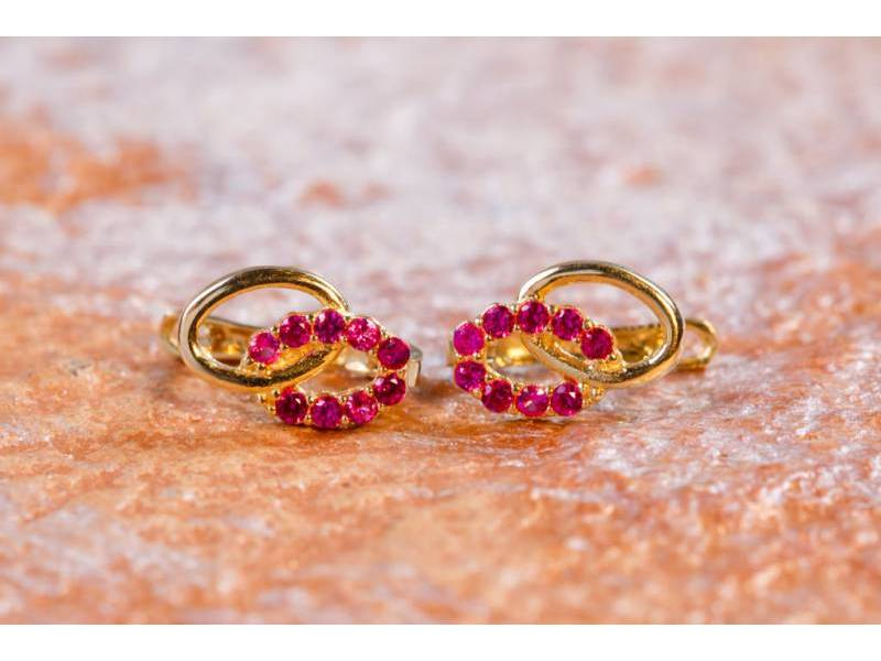 Cercei aur 14K bijuterii zirconia siclam
