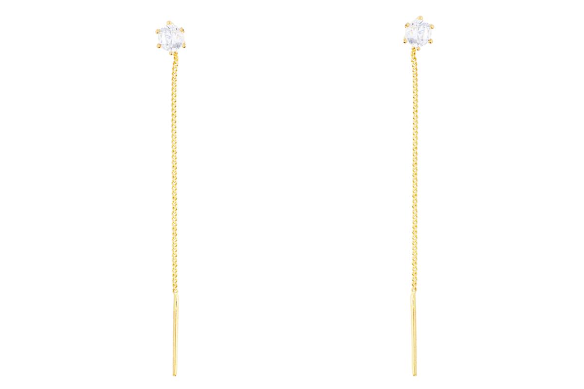 Cercei cu lant dama aur 14K galben