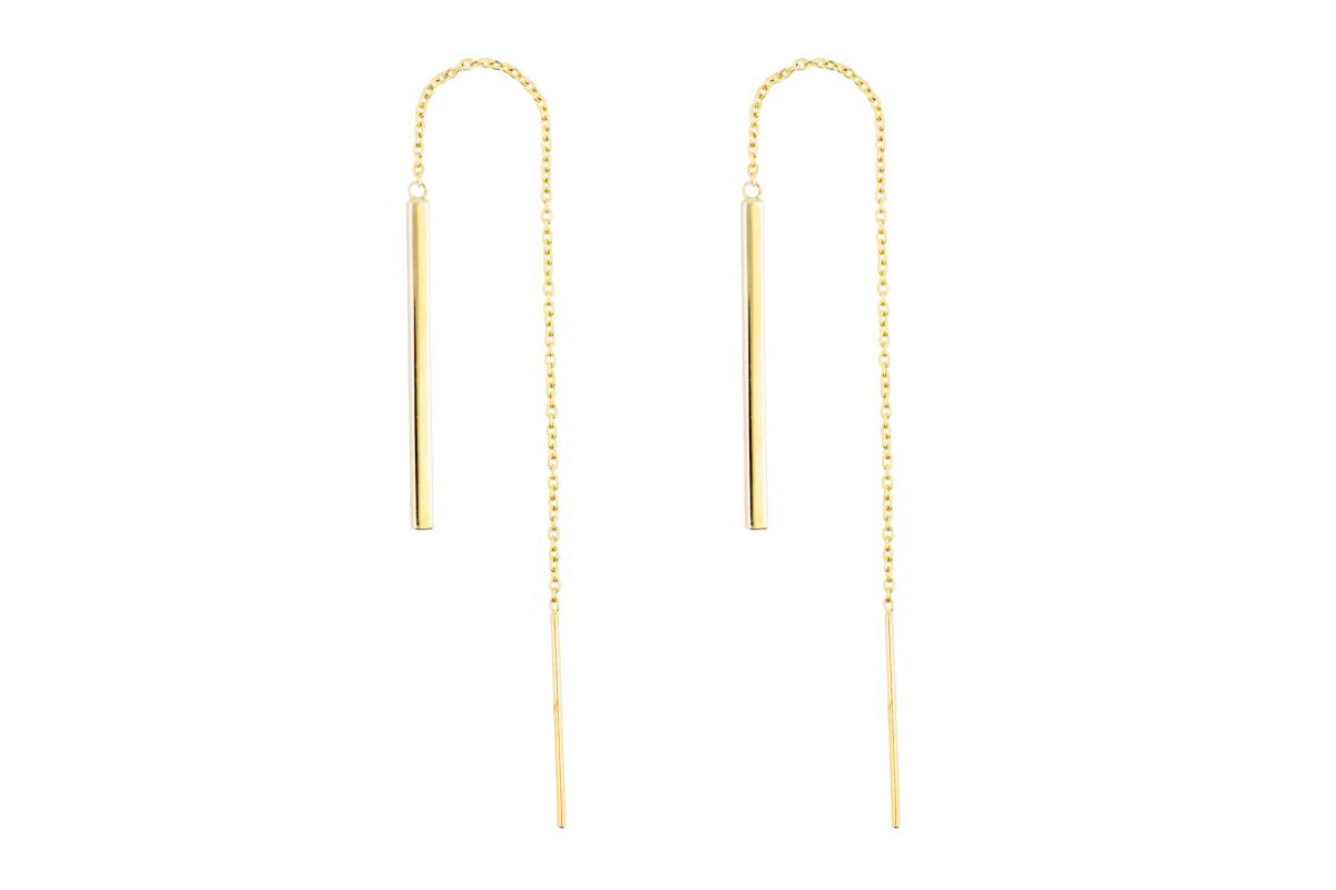 Cercei aur 14k cu lant pandant geometric