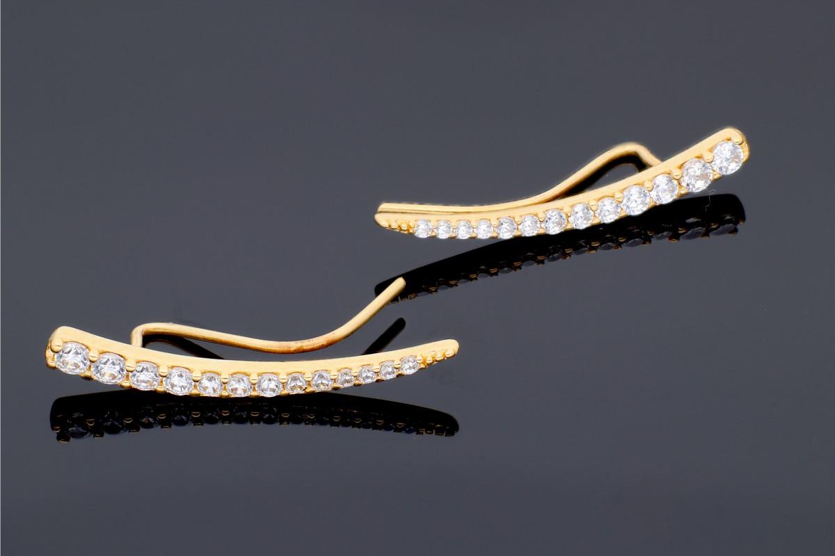 Cercei cu surub dama aur 14K galben zirconii