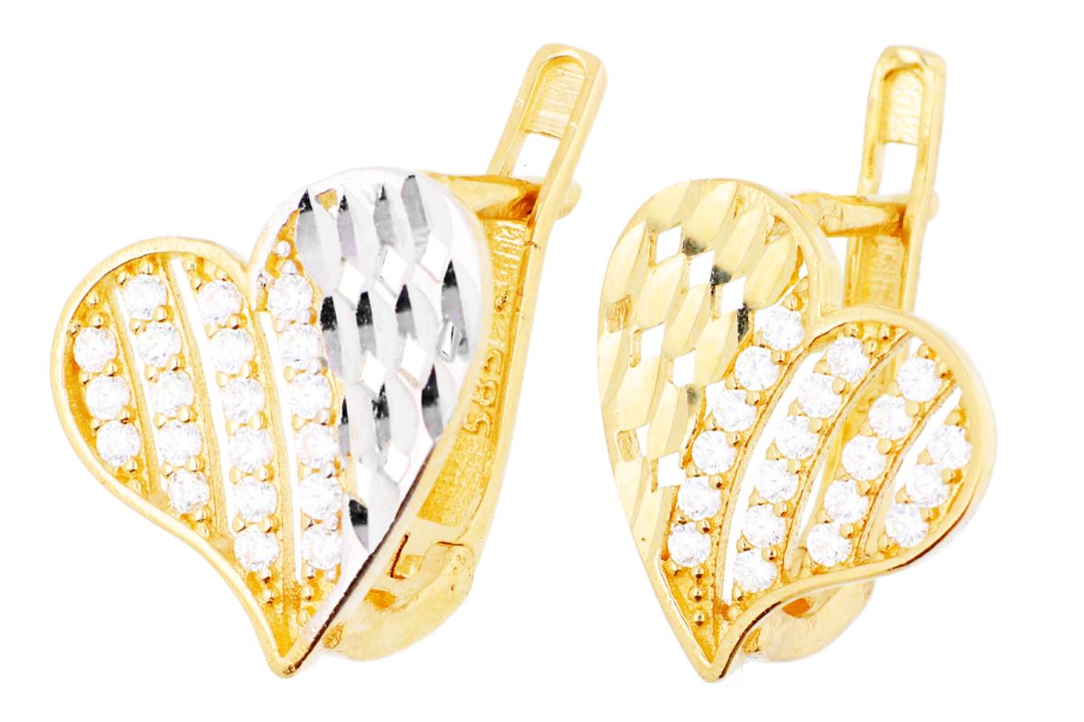Cercei aur 14k inimioare cadouri bijuterii