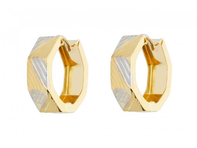 Bijuterii aur online – Cercei rotunzi dama din aur 14K alb si galben creole