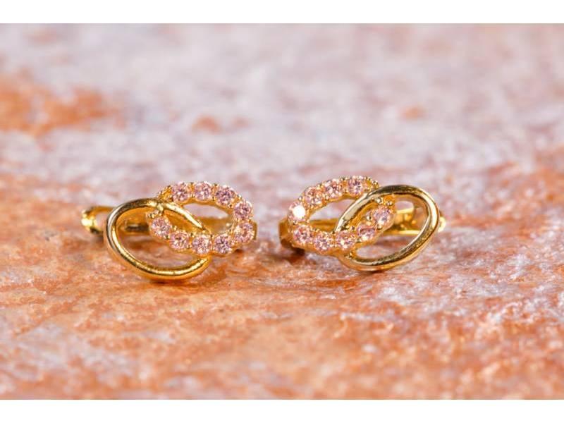 Cercei aur 14K zirconia roz