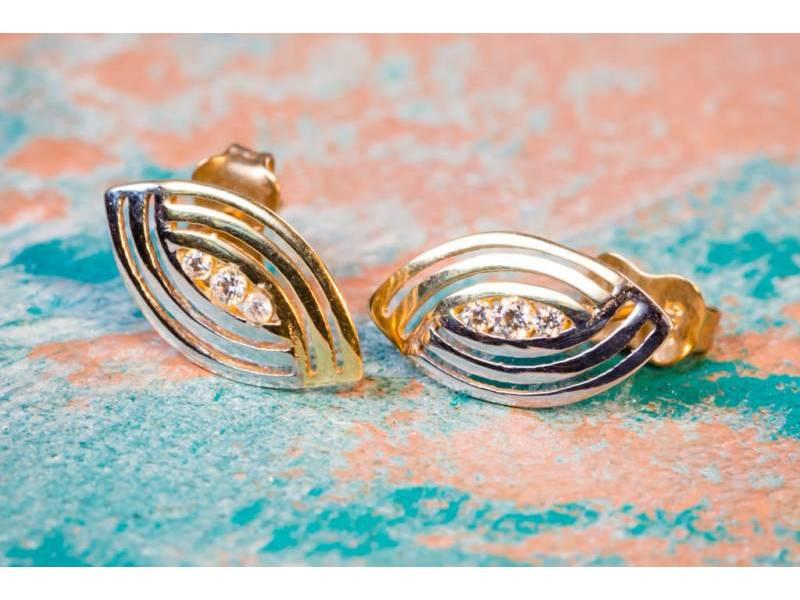 Cercei aur alb 14K bijuterii dama