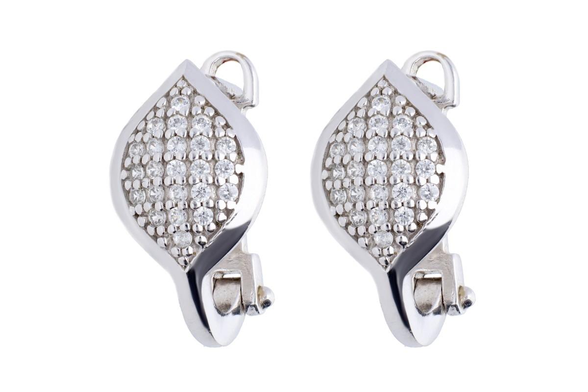 Cercei aur alb bijuterie cadou cu zirconia