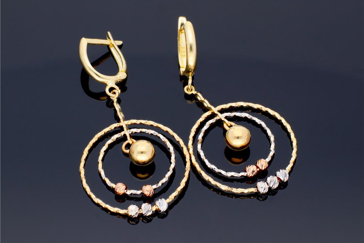 Bijuterii din aur - Cercei lungi dama din aur 14K alb, galben si roz cercuri