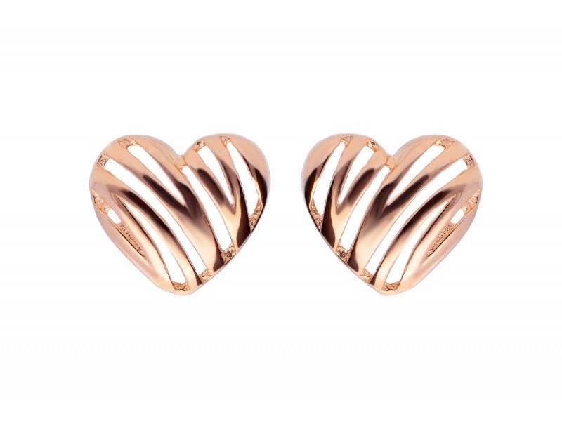 Cercei aur roz 14K inimioara