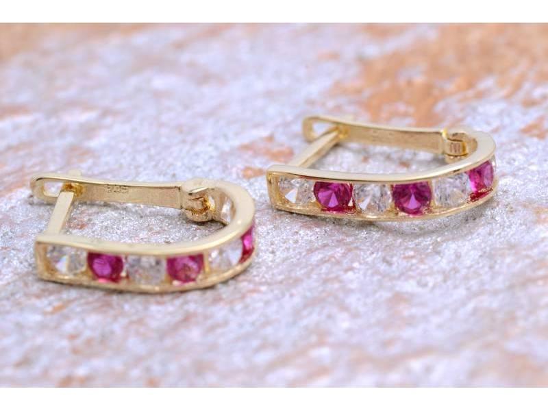 Bijuterii aur online - Cercei copii din aur 14K galben zirconia roz
