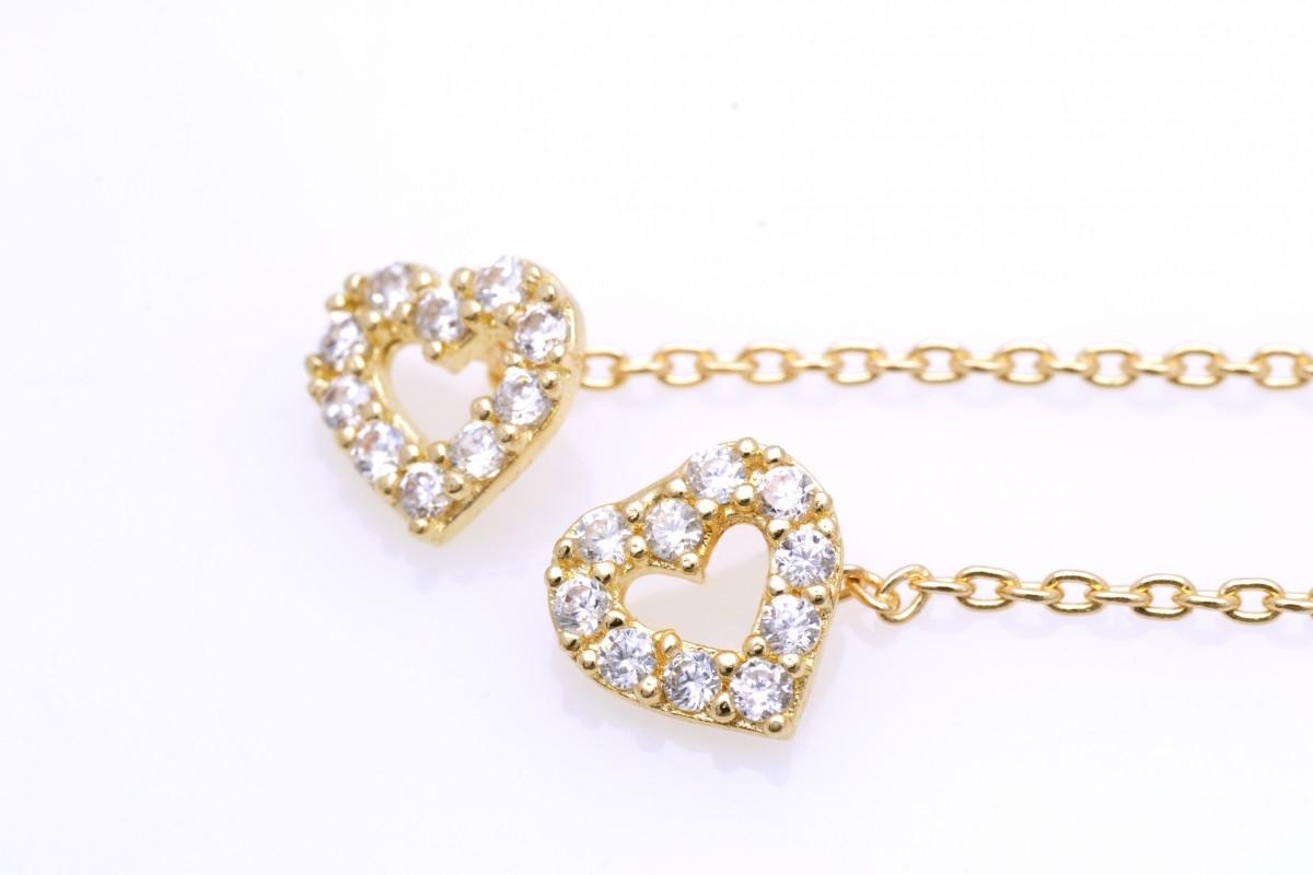 Bijuterii aur - Cercei cu lant aur 14K galben
