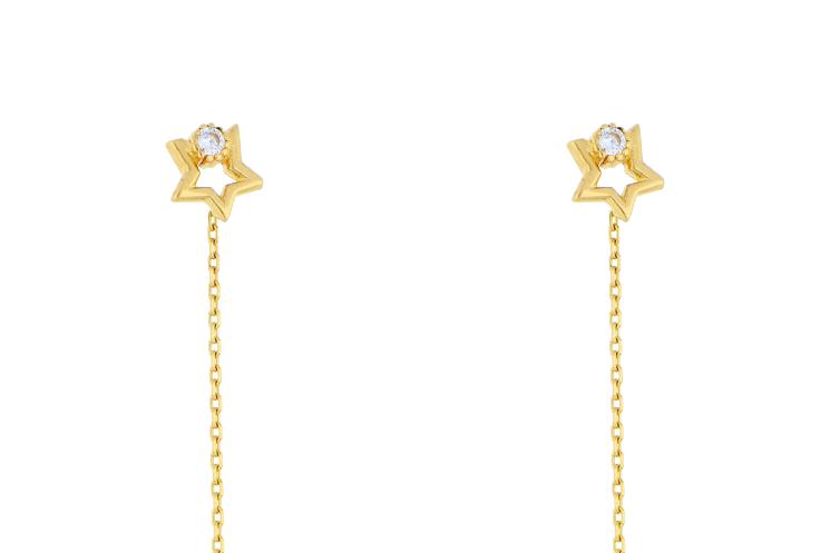 Cercei cu lant aur 14K galben steluta