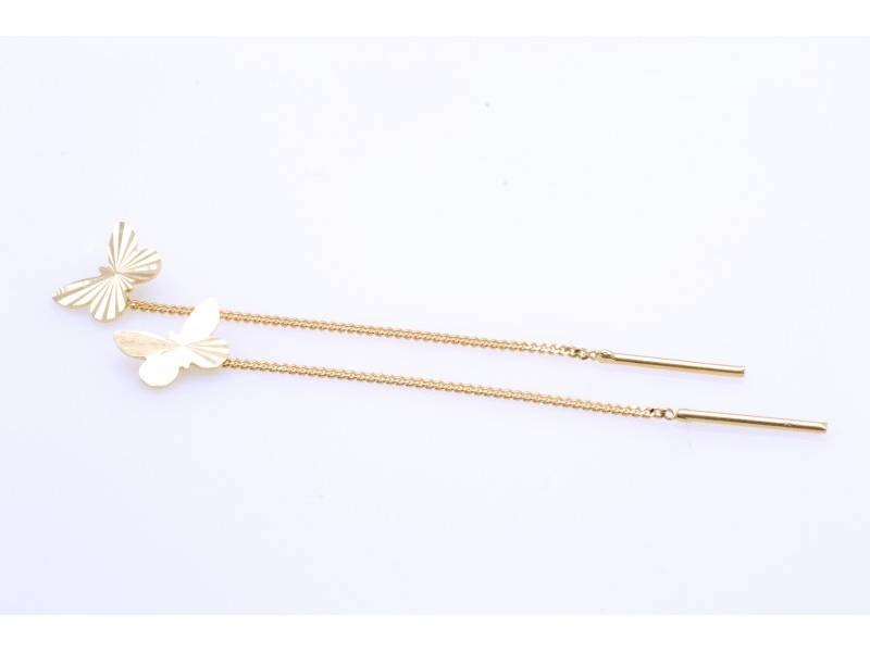 Cercei cu lant aur 14K galben fluturas