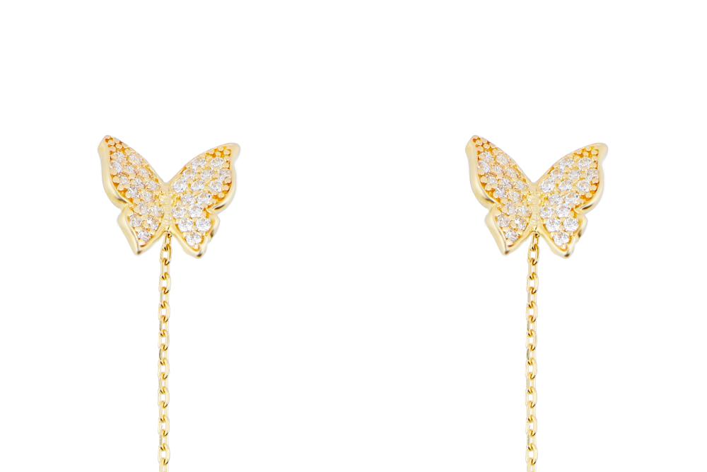 Cercei cu lant din aur 14K fluturas