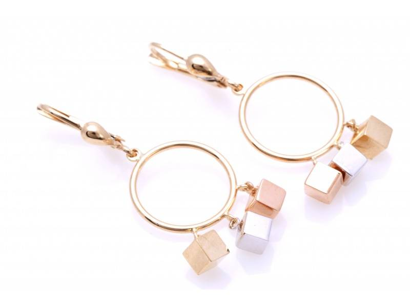 Cercei lungi dama aur 14K alb, galben si roz geometry