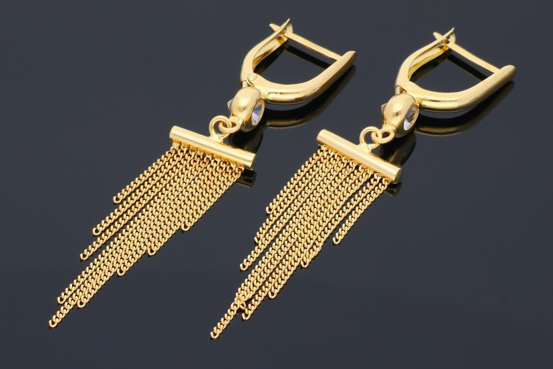 Cercei cu lant din aur 14K galben
