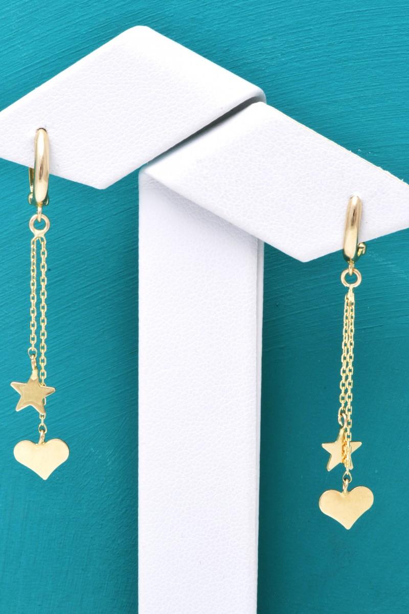 Cercei cu pandant aur 14K inimioara-steluta