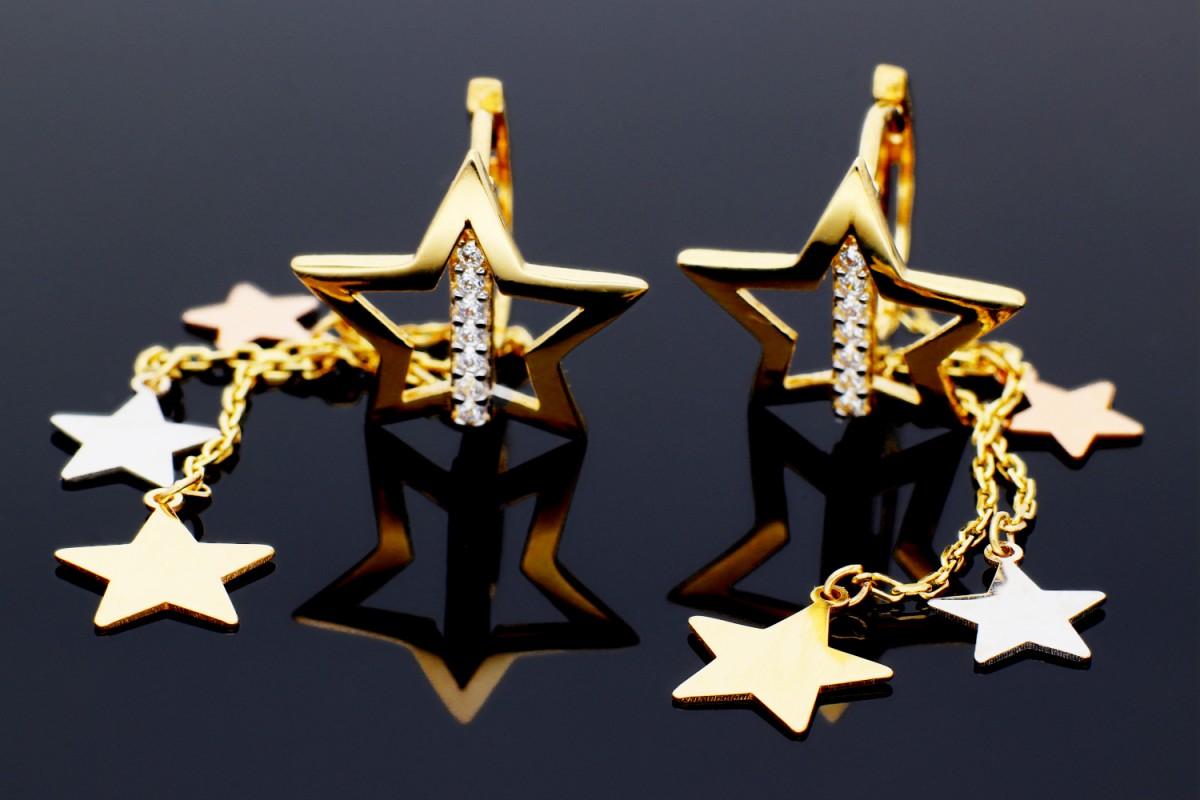 Cercei cu pandante  stelute cadouri bijuterii aur