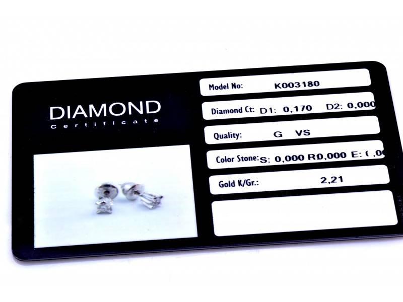Cercei cu surub dama aur 18K alb cu diamante